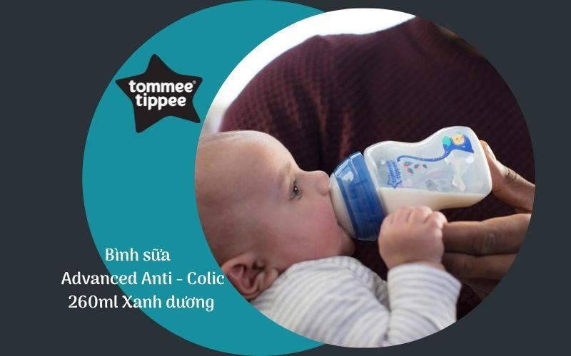 Bình sữa chống đầy hơi Tommee Tippee Advanced Anti-Colic 260ml (bình đơn) - Xanh Dương
