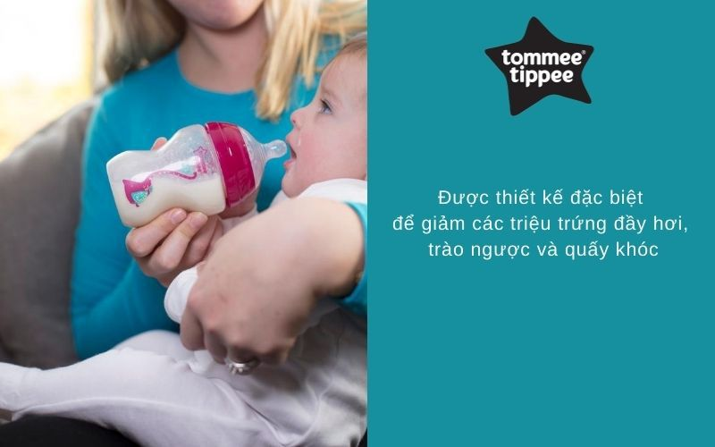 Đặc điểm Bình sữa chống đầy hơi Tommee Tippee Advanced Anti-Colic 260ml (bình đôi) - Hồng
