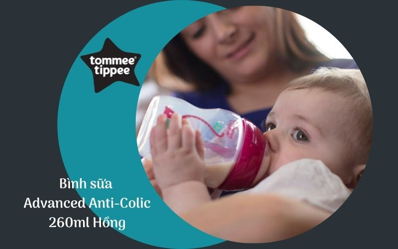 Bình sữa chống đầy hơi Tommee Tippee Advanced Anti-Colic 260ml (bình đôi) - Hồng