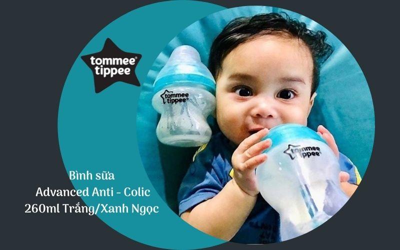 Bình sữa chống đầy hơi Tommee Tippee Advanced Anti-Colic 260ml (bình đôi) - Trắng/Xanh Ngọc