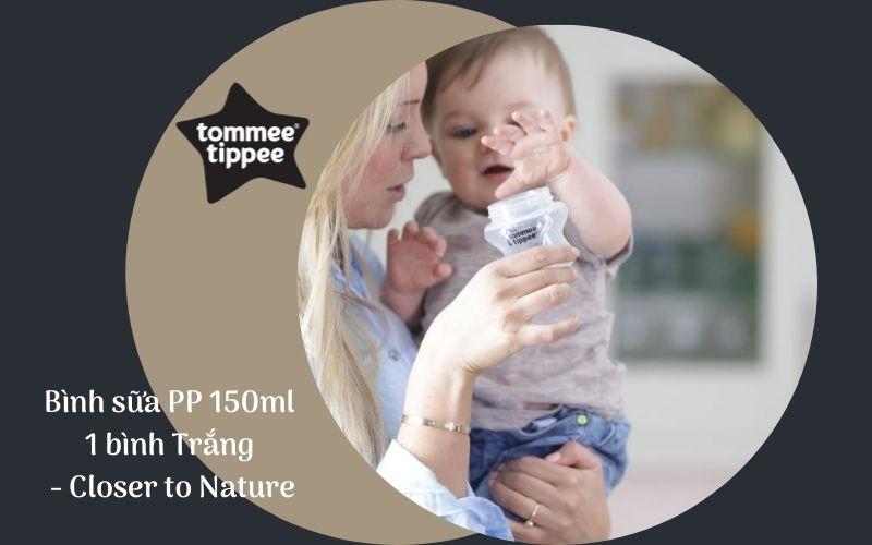 Bình sữa Tommee Tippee Closer to Nature PP 150ml (bình đơn) - Trắng