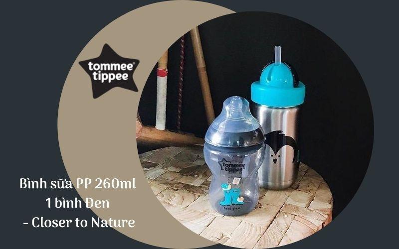 Bình sữa Tommee Tippee Closer to Nature PP 260ml (bình đơn) - Đen