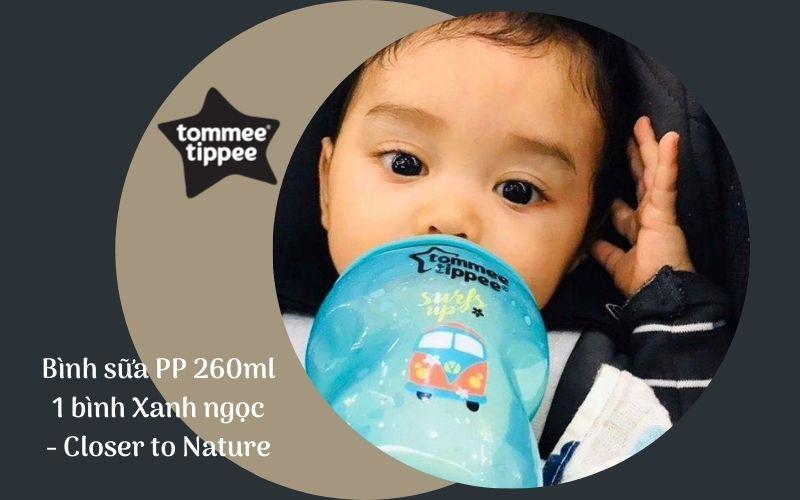 Bình sữa Tommee Tippee Closer to Nature PP 260ml (bình đơn) - Xanh Ngọc