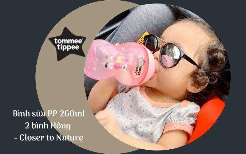 Bình sữa Tommee Tippee Closer to Nature PP 260ml (bình đôi) - Hồng