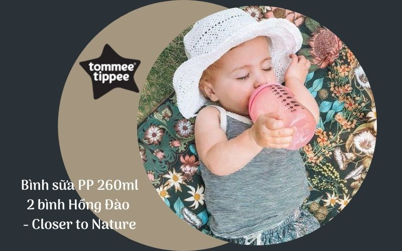 Bình sữa Tommee Tippee Closer to Nature PP 260ml (bình đôi) - Hồng Đào