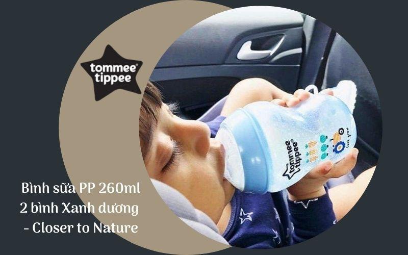 Bình sữa Tommee Tippee Closer to Nature PP 260ml (bình đôi) - Xanh Dương