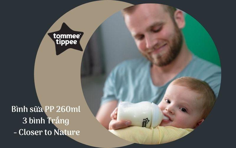 Bình sữa Tommee Tippee Closer to Nature PP 260ml (bộ 3 bình) - Trắng