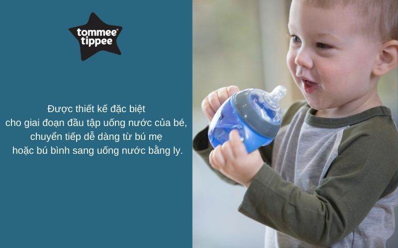 Đặc điểm Bình tập uống chuyển tiếp 2in1 cho bé Tommee Tippee Transition 150ml từ 4-7 tháng - Xanh Dương