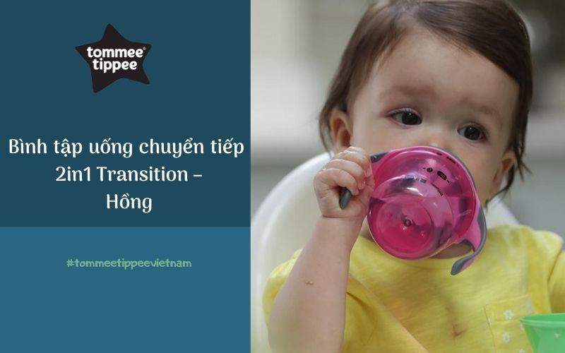 Bình tập uống chuyển tiếp 2in1 cho bé Tommee Tippee Transition 150ml từ 4-7 tháng - Hồng