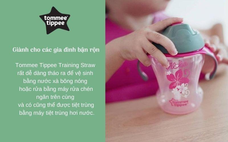 Đặc điểm Bình tập uống có ống hút cho bé Tommee Tippee Training Straw 230ml từ 9 tháng – Hồng