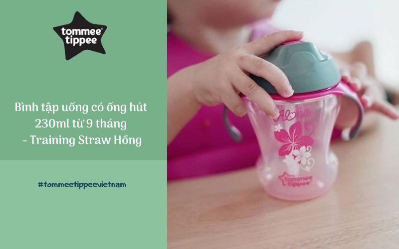 Bình tập uống có ống hút cho bé Tommee Tippee Training Straw 230ml từ 9 tháng – Hồng