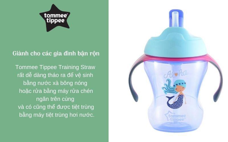 Đặc điểm Bình tập uống có ống hút cho bé Tommee Tippee Training Straw 230ml từ 9 tháng - Tím
