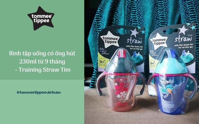 Bình tập uống có ống hút cho bé Tommee Tippee Training Straw 230ml từ 9 tháng - Tím