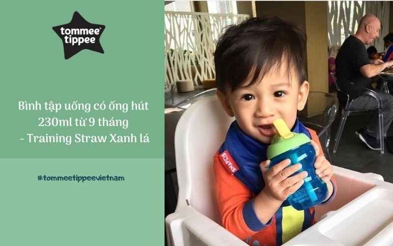 Bình tập uống có ống hút cho bé Tommee Tippee Training Straw 230ml từ 9 tháng – Xanh Lá