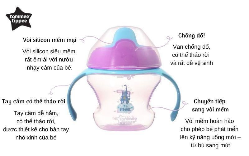 Đặc điểm Bình tập uống có vòi cho bé Tommee Tippee First Sippee 150ml từ 4 tháng - Tím