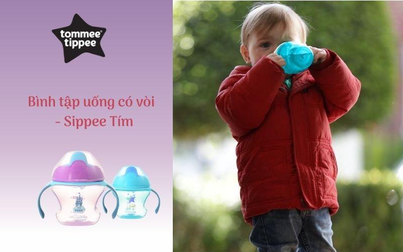 Bình tập uống có vòi cho bé Tommee Tippee First Sippee 150ml từ 4 tháng - Tím