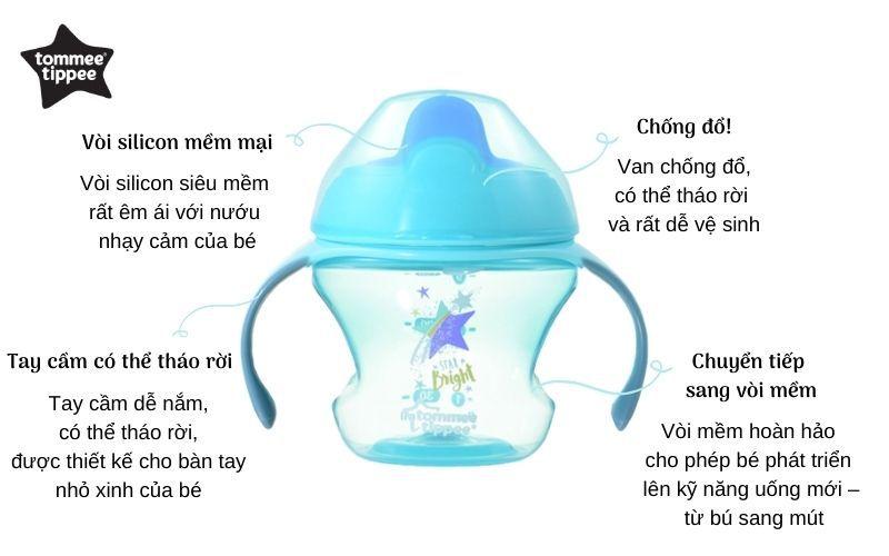Đặc điểm Bình tập uống có vòi cho bé Tommee Tippee First Sippee 150ml từ 4 tháng - Xanh Lá