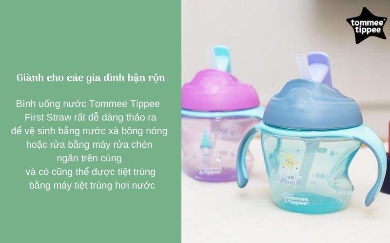 Đặc điểm Bình uống nước có ống hút cho bé Tommee Tippee First Straw 150ml từ 9 tháng - Hồng