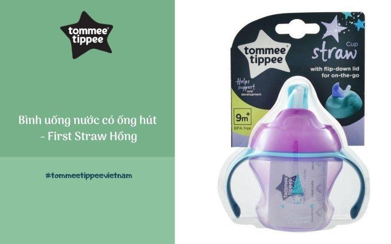 Bình uống nước có ống hút cho bé Tommee Tippee First Straw 150ml từ 9 tháng - Hồng