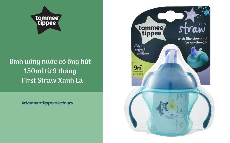 Bình uống nước có ống hút cho bé Tommee Tippee First Straw 150ml từ 9 tháng – Xanh Lá