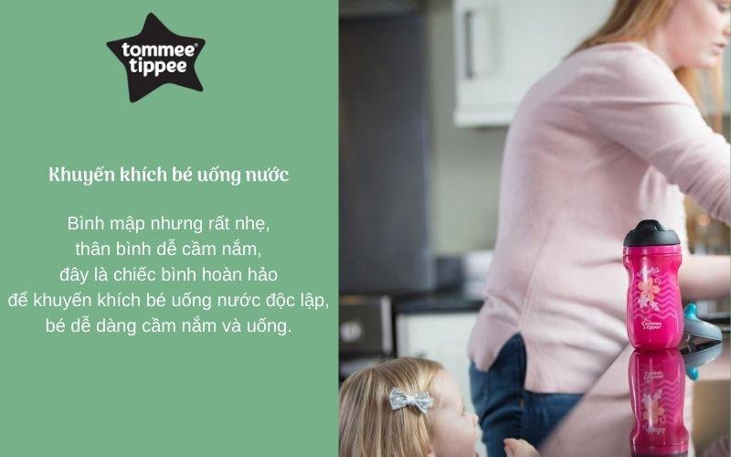 Đặc điểm Bình uống nước giữ nhiệt có ống hút cho bé Tommee Tippee Insulated Straw 260ml từ 12 tháng - Hồng