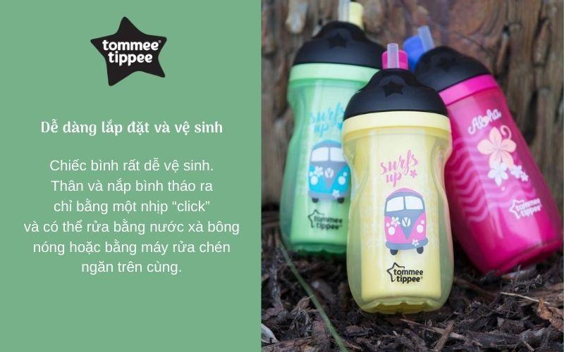 Đặc điểm Bình uống nước giữ nhiệt có ống hút cho bé Tommee Tippee Insulated Straw 260ml từ 12 tháng – Vàng