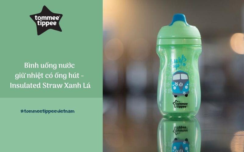 Bình uống nước giữ nhiệt có ống hút cho bé Tommee Tippee Insulated Straw 260ml từ 12 tháng – Xanh Lá