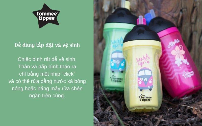Đặc điểm Bình uống nước giữ nhiệt có ống hút cho bé Tommee Tippee Insulated Straw 260ml từ 12 tháng – Xanh Lá