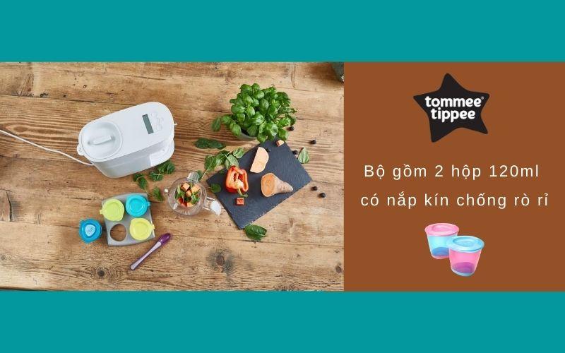 Đặc điểm Bộ 2 hộp đựng thức ăn cho bé Tommee Tippee Pop Up từ 4 tháng - Tím/Xanh dương
