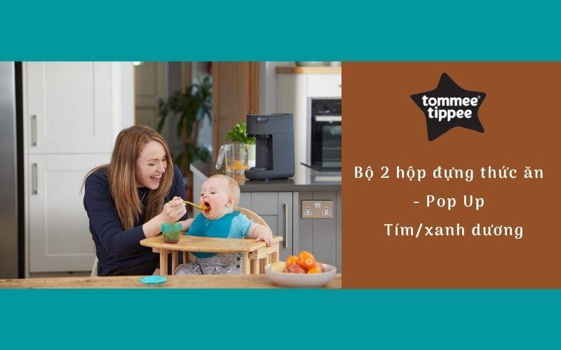 Bộ 2 hộp đựng thức ăn cho bé Tommee Tippee Pop Up từ 4 tháng - Tím/Xanh dương