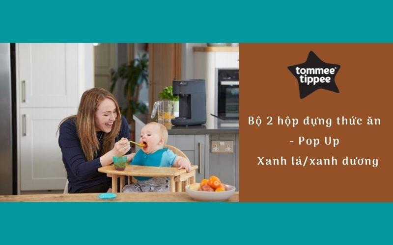 Bộ 2 hộp đựng thức ăn cho bé Tommee Tippee Pop Up từ 4 tháng - Xanh lá/Xanh dương