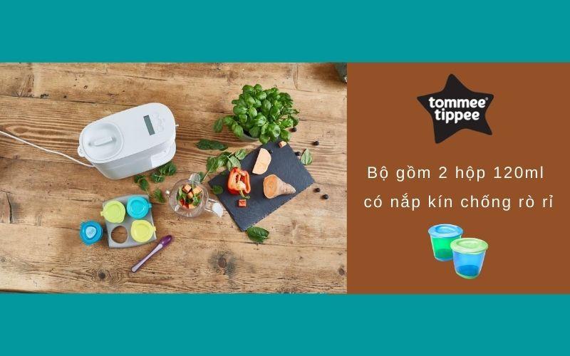 Đặc điểm Bộ 2 hộp đựng thức ăn cho bé Tommee Tippee Pop Up từ 4 tháng - Xanh lá/Xanh dương
