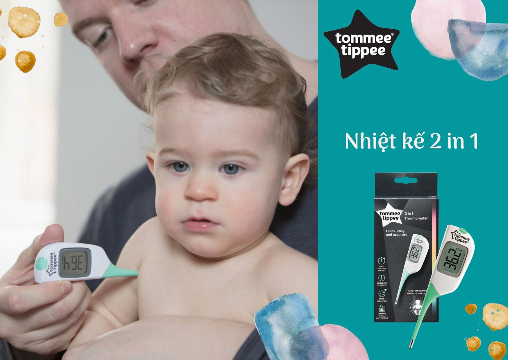 Nhiệt kế 2in1 Tommee Tippee