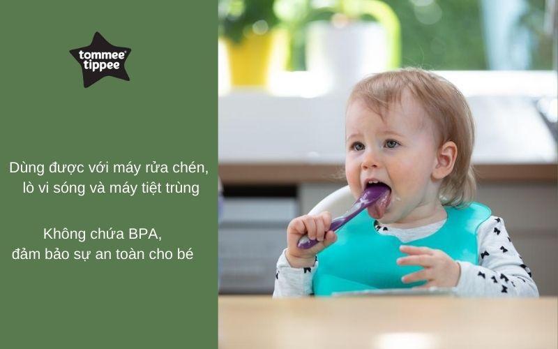 Đặc điểm Thìa ăn dặm cho bé Tommee Tippee Feeding từ 7 tháng (set 2 thìa) - Tím/Xanh lá