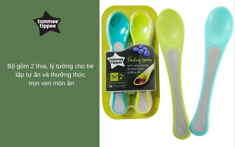 Đặc điểm Thìa ăn dặm cho bé Tommee Tippee Feeding từ 7 tháng (set 2 thìa) - Xanh lá/Xanh dương