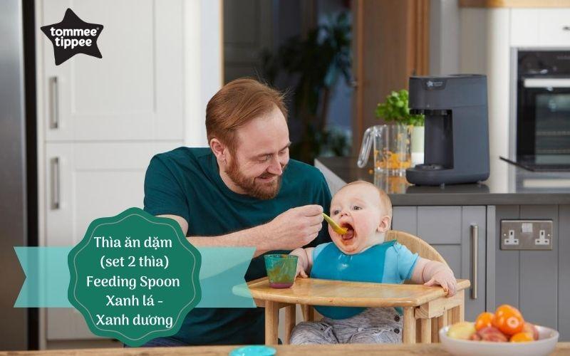 Thìa ăn dặm cho bé Tommee Tippee Feeding từ 7 tháng (set 2 thìa) - Xanh lá/Xanh dương