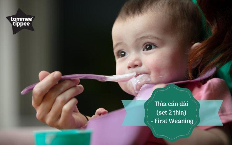 Thìa ăn dặm cán dài cho bé Tommee Tippee First Weaning từ 4 tháng (set 2 thìa)