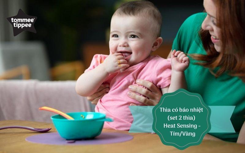 Thìa ăn dặm có báo nhiệt cho bé Tommee Tippee Heat Sensing từ 4 tháng (set 2 thìa) - Tím/Vàng