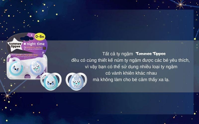 Đặc điểm Ty ngậm dạ quang cho bé Tommee Tippee Night Time 0-6 tháng (vỉ 2 cái) - Xanh