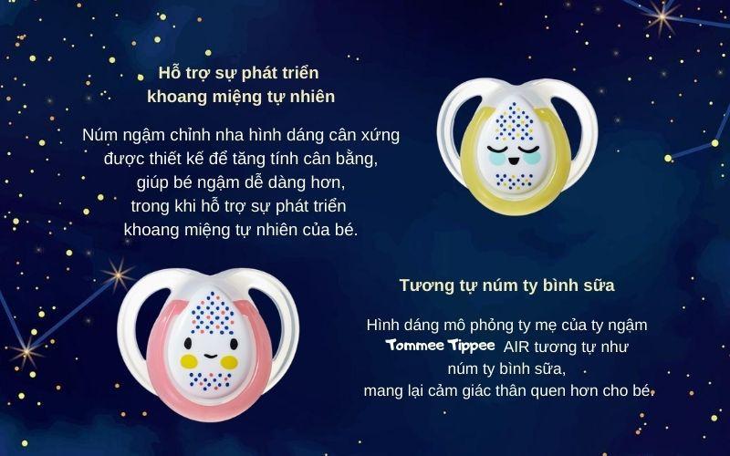 Đặc điểm Ty ngậm dạ quang cho bé Tommee Tippee Night Time 0-6 tháng (vỉ 2 cái) - Vàng/Hồng