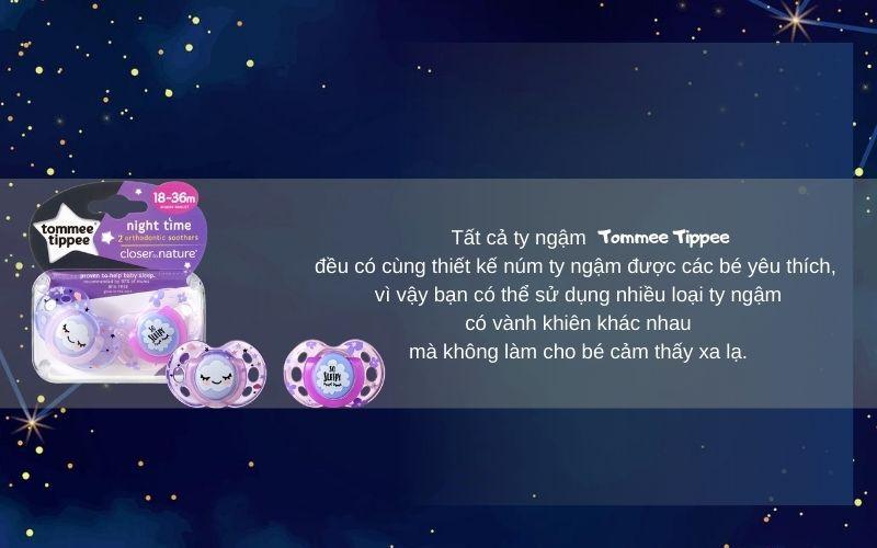 Đặc điểm Ty ngậm dạ quang cho bé Tommee Tippee Night Time 18-36 tháng (vỉ 2 cái) - Tím/Hồng