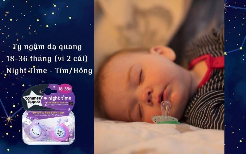 Ty ngậm dạ quang cho bé Tommee Tippee Night Time 18-36 tháng (vỉ 2 cái) - Tím/Hồng