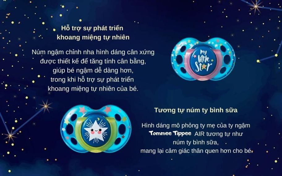 Đặc điểm Ty ngậm dạ quang cho bé Tommee Tippee Night Time 18-36 tháng (vỉ 2 cái) - Xanh