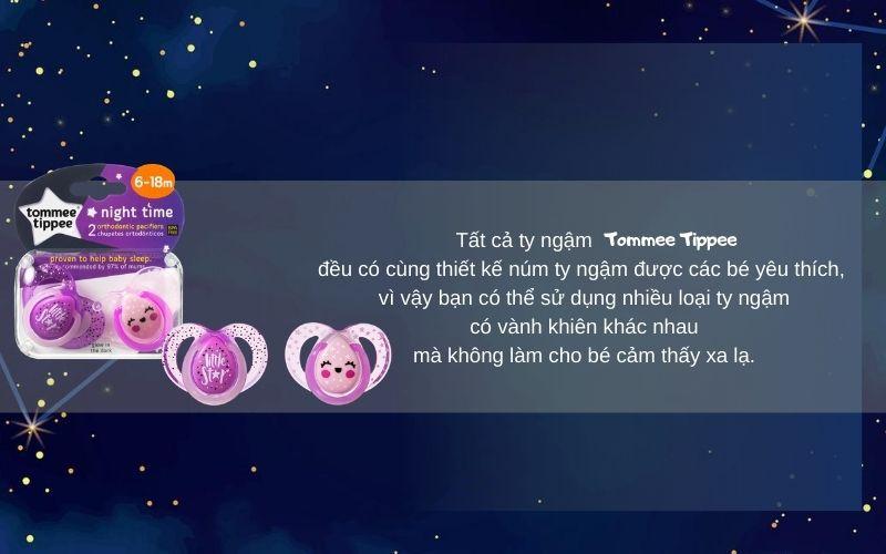 Đặc điểm Ty ngậm dạ quang cho bé Tommee Tippee Night Time 6-18 tháng (vỉ 2 cái) - Tím/Hồng