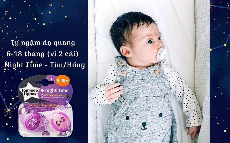 Ty ngậm dạ quang cho bé Tommee Tippee Night Time 6-18 tháng (vỉ 2 cái) - Tím/Hồng