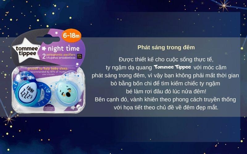 Đặc điểm Ty ngậm dạ quang cho bé Tommee Tippee Night Time 6-18 tháng (vỉ 2 cái) - Xanh