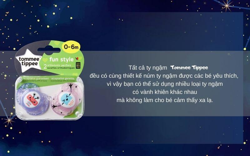 Đặc điểm Ty ngậm thoáng khí cho bé Tommee Tippee AIR 0-6 tháng (vỉ 2 cái) - Tím/Hồng