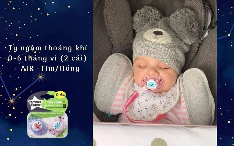 Ty ngậm thoáng khí cho bé Tommee Tippee AIR 0-6 tháng (vỉ 2 cái) - Tím/Hồng