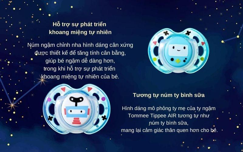 Đặc điểm Ty ngậm thoáng khí cho bé Tommee Tippee AIR 0-6 tháng (vỉ 2 cái) - Xanh