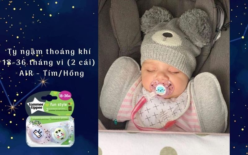 Ty ngậm thoáng khí cho bé Tommee Tippee AIR 18-36 tháng (vỉ 2 cái) - Tím/Hồng